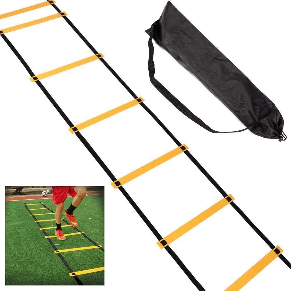 Outdoortips 5 m deportes escalera de agilidad 10-bombeo velocidad futbol Entrenamiento ejercicios ayuda rápida pies agilidad (negro): Amazon.es: Deportes y aire libre