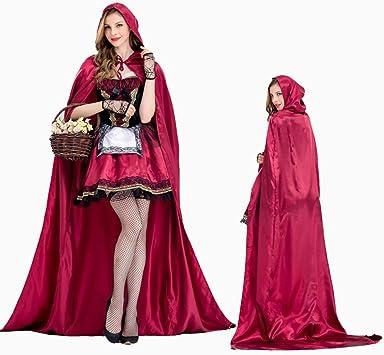 XSQR Halloween Mujer Cosplay Vestido Caperucita Roja Capa ...