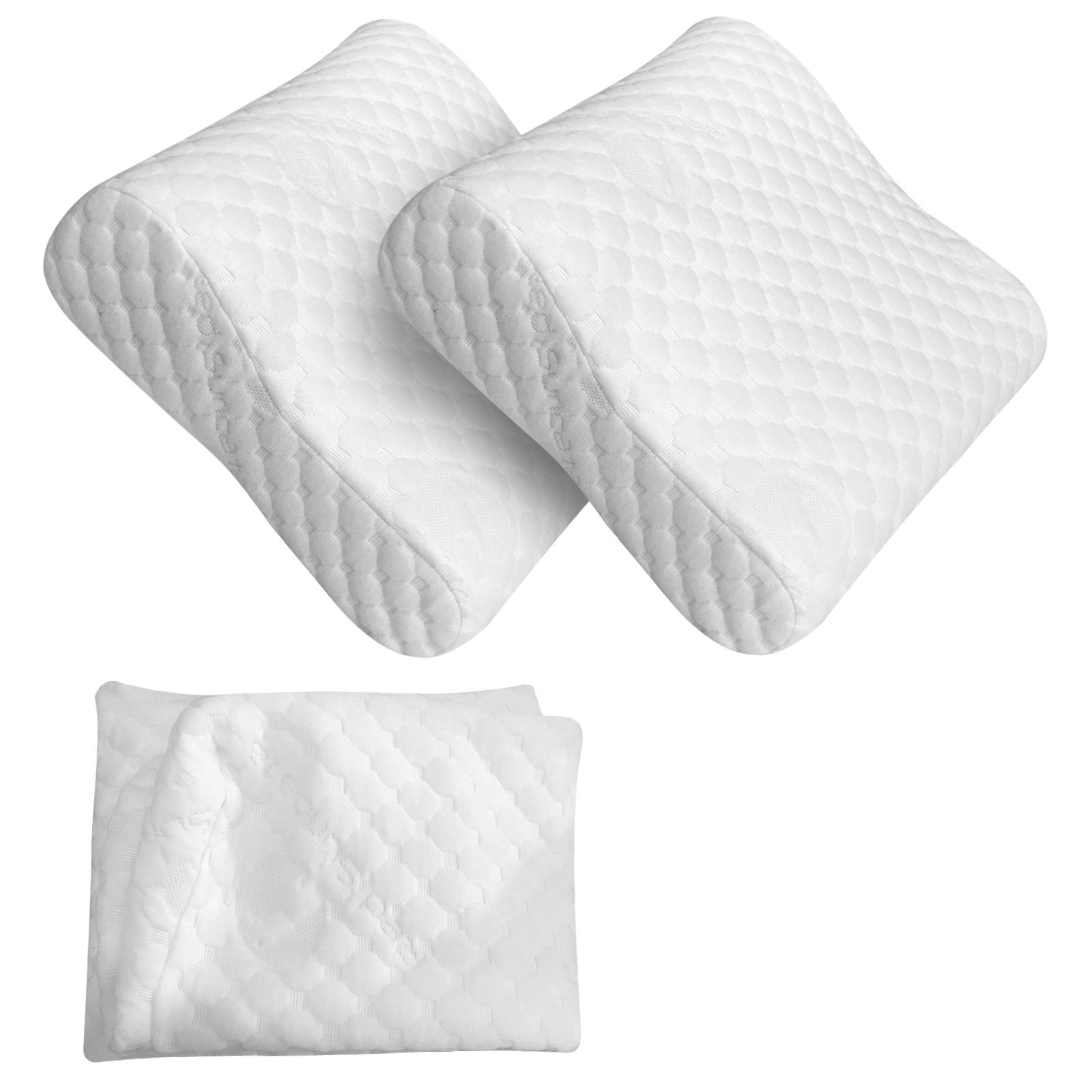 Red Suricata 2 Travel Contour Pillows & Double Pillowcase Bundle - Compact Therapeutic Memory Foam Travel Pillow - Bamboo Cover - 3 Firmness Levels - Connect 2 for Full Size Pillow (Regular)