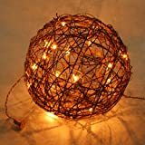 Emlyn LED Pendant Lamp By Emlyn (10'') Christmas Decor, Ambient Mood Lighting Night Globe, Romantic Lantern For Wedding, Holiday, Patio, Outdoor (Warm White), rattan, grape (10'')