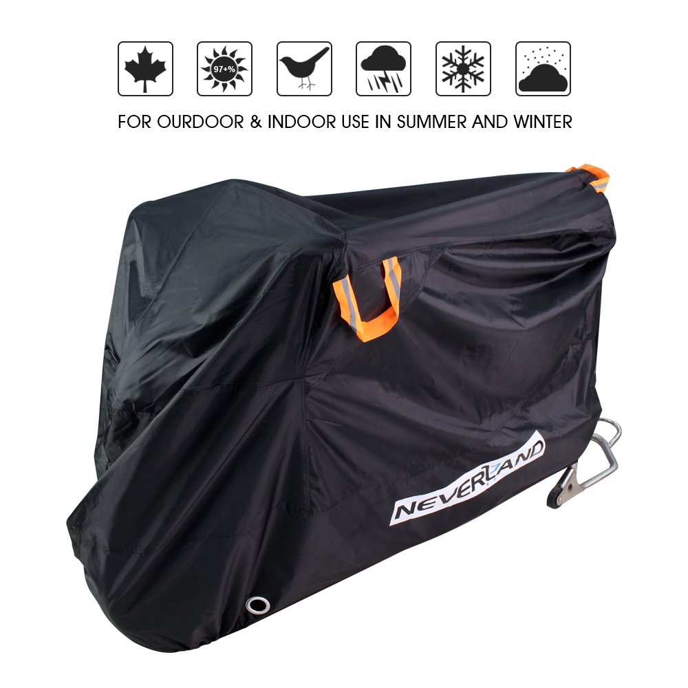 XL 2 Stainless Steel Safety Lock-Holes 210D Heavy Duty Motorbike Outdoor Waterproof Anti-UV Dust Rain Protector NEVERLAND Motorcycle Covers upgrade 96.4 x 41.3 x 49.2 inch