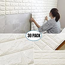 """30 Pack 3D Brick Wall Stickers, PE Foam Self-adhesive Wallpaper Removable and Waterproof Art Wall Tiles for Bedroom Living Room Background TV Decor ( 23.62""""X 23.62"""" inch)"""