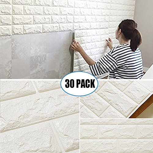 30 Pack 3D Brick Wall Stickers, PE Foam Self-adhesive Wallpaper Removable and Waterproof Art Wall Tiles for Bedroom Living Room Background TV Decor ( 23.62
