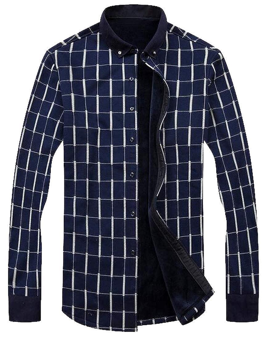 pipigo Mens Button Down Long Sleeve Fleece Lined Plus Size Print Dress Shirts
