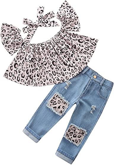 Ripped Jeans Tore up Shorts KIDSA 1-7T Baby Toddler Little Girls Summer Outfits Sets Off Shoulder T-Shirt Tops