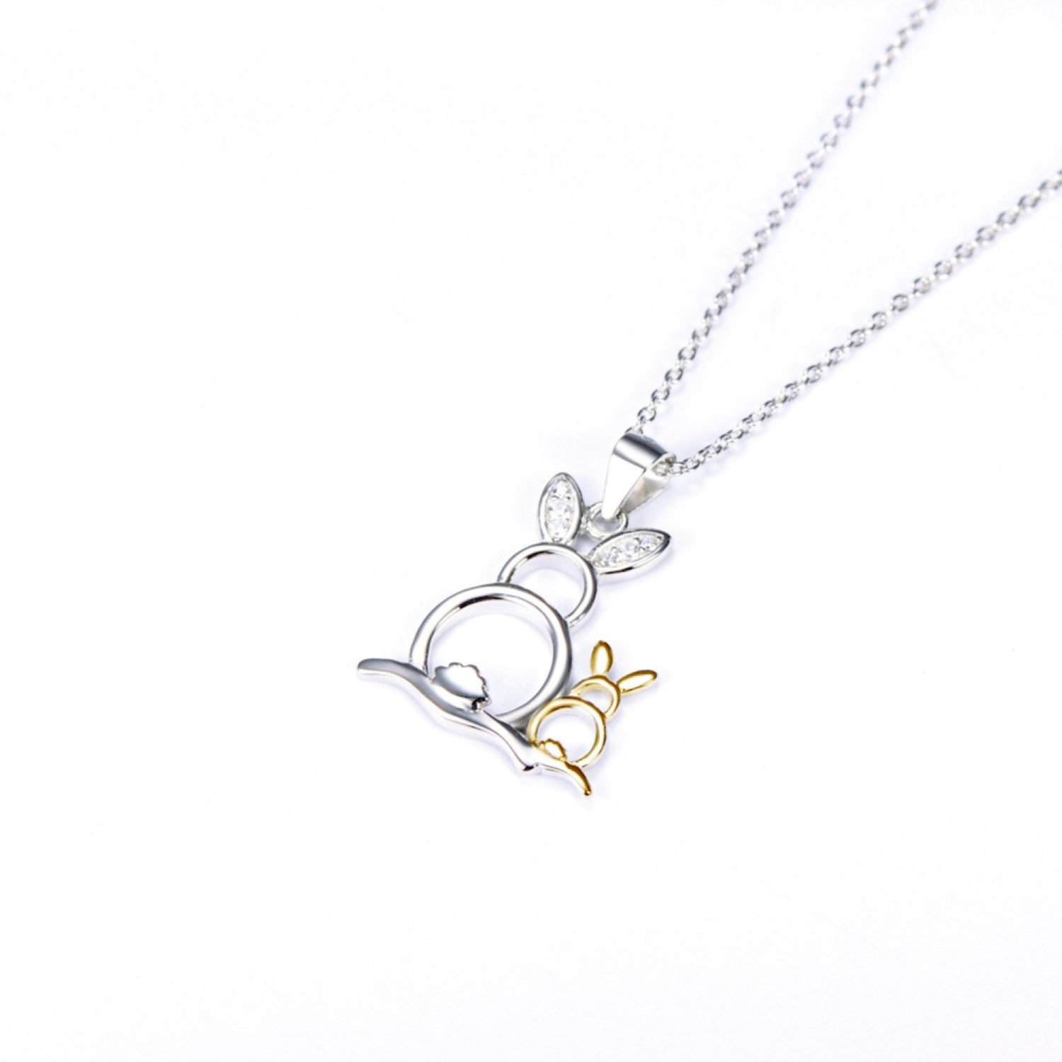 CS-DB Lovely Cute Rabbit Mother /& Child Top Stylish Silver Necklaces Pendants