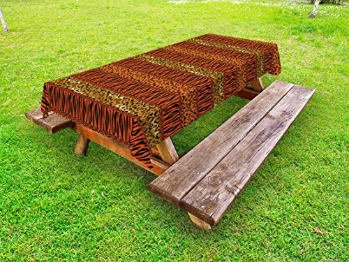 Lunarable African Outdoor Tablecloth, Cheetah and Tiger Skin Striped Pattern Camouflage Jungle Animals, Decorative Washable Picnic Table Cloth, 58