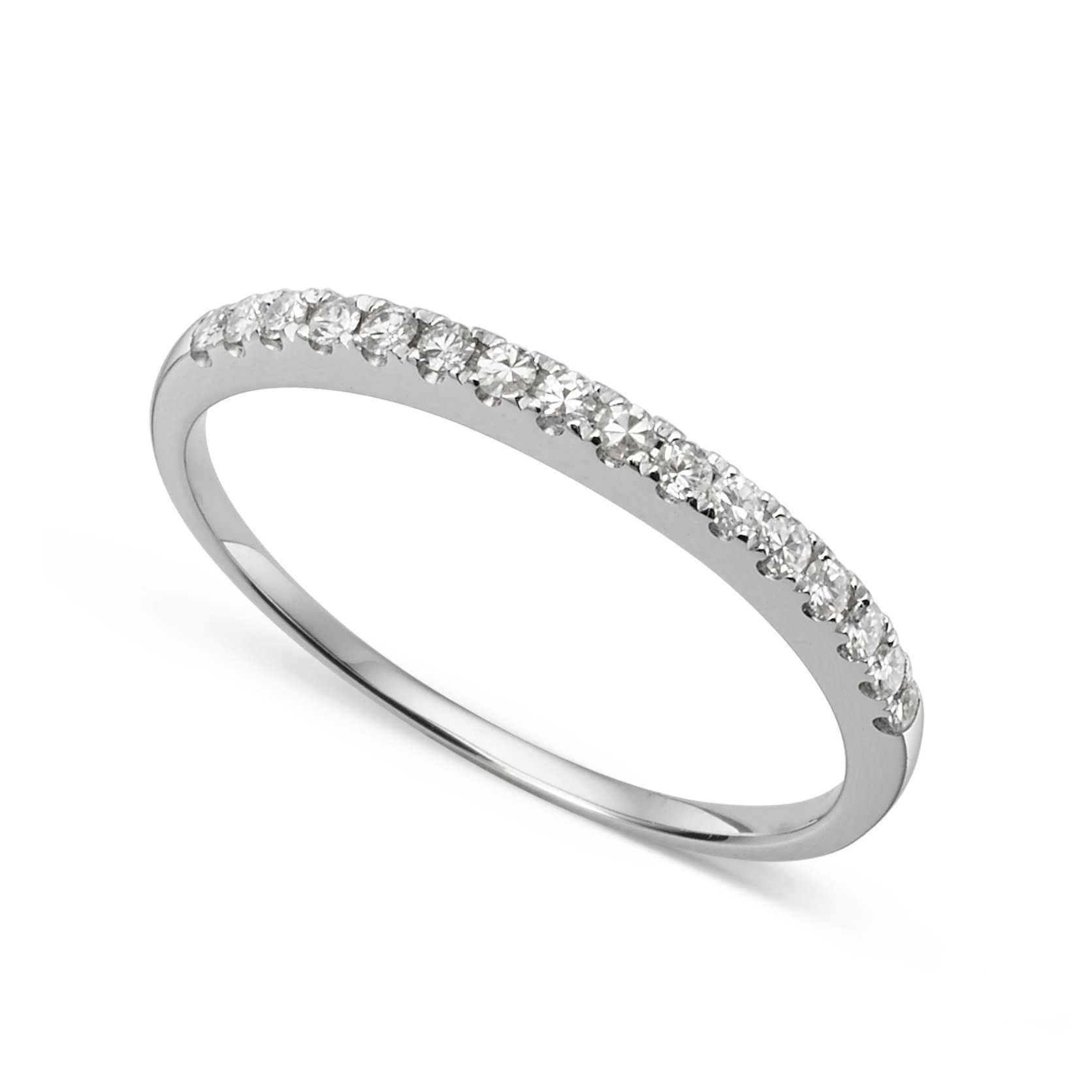 14k White Gold 1.3mm Round Forever Classic Moissanite Wedding Band Ring Size 8 by Charles & Colvard