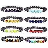 Diomate 8Pcs Lava Rock Stone Essential Oil Diffuser Bracelet Elastic Yoga Prayer Beads Bracelet,8mm