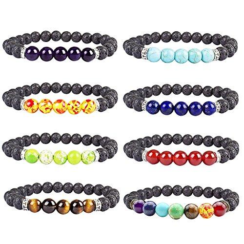 Diomate 8Pcs Lava Rock Stone Essential Oil Diffuser Bracelet Elastic Yoga Prayer Beads Bracelet,8mm Lava Rock Stone