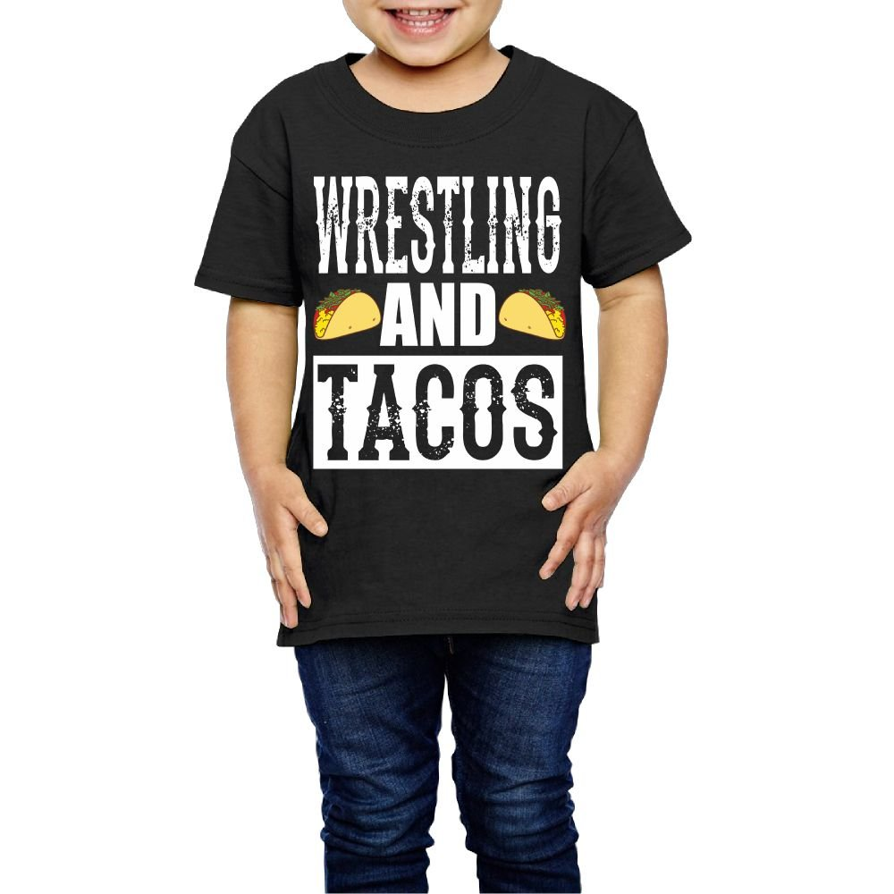 Aiguan Wrestling and Tacos Toddler Short Sleeve T-Shirt Cozy Top for Little Boy & Girl Black 2 Toddler