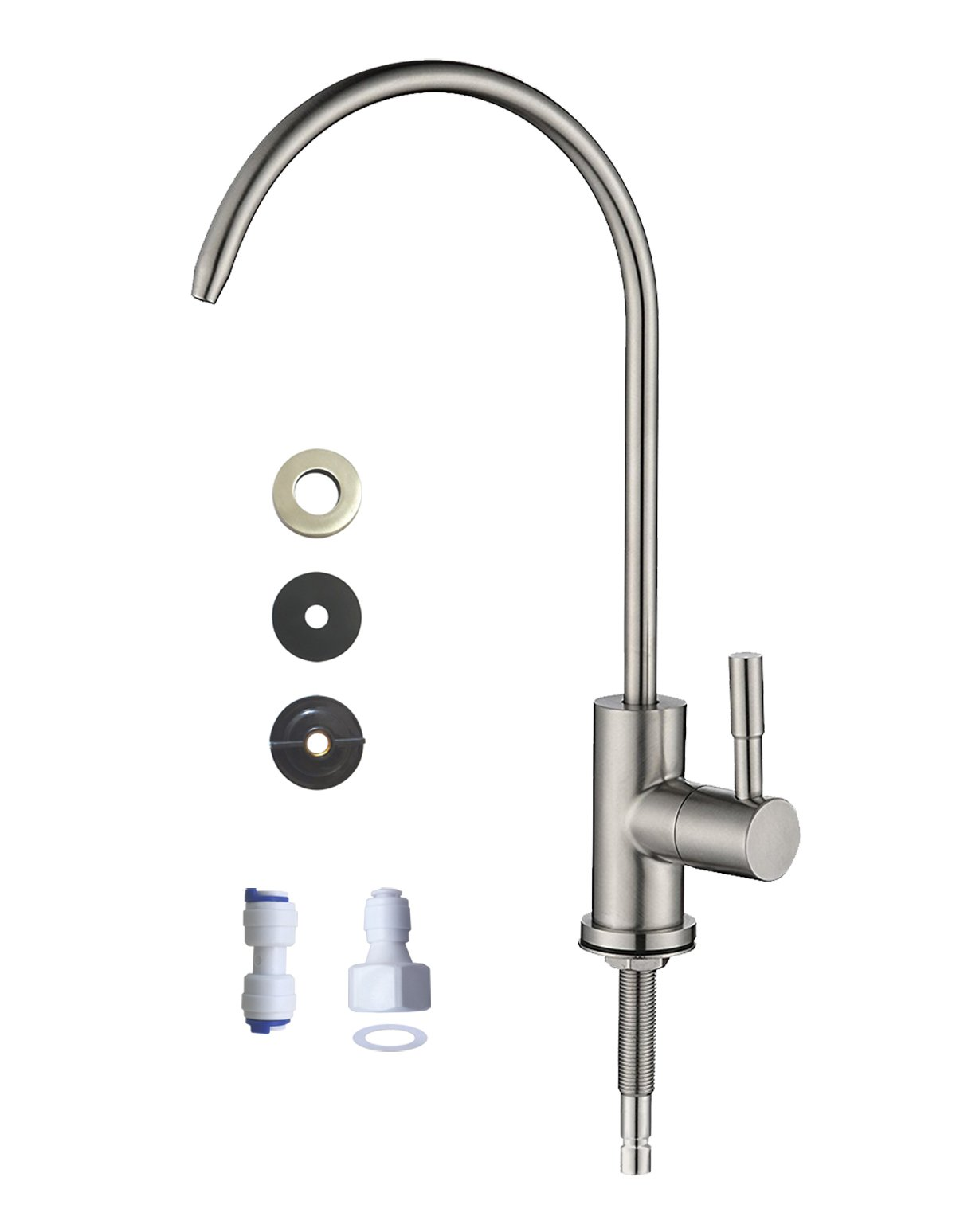 Water Faucet, Kitchen Sink Faucet Beverage Faucet Reverse Osmosis Faucet for Drinking Water Purifier Filter Filtration System, 1/4-inch Tube, Lead-Free, Brushed Stainless Steel By wholev