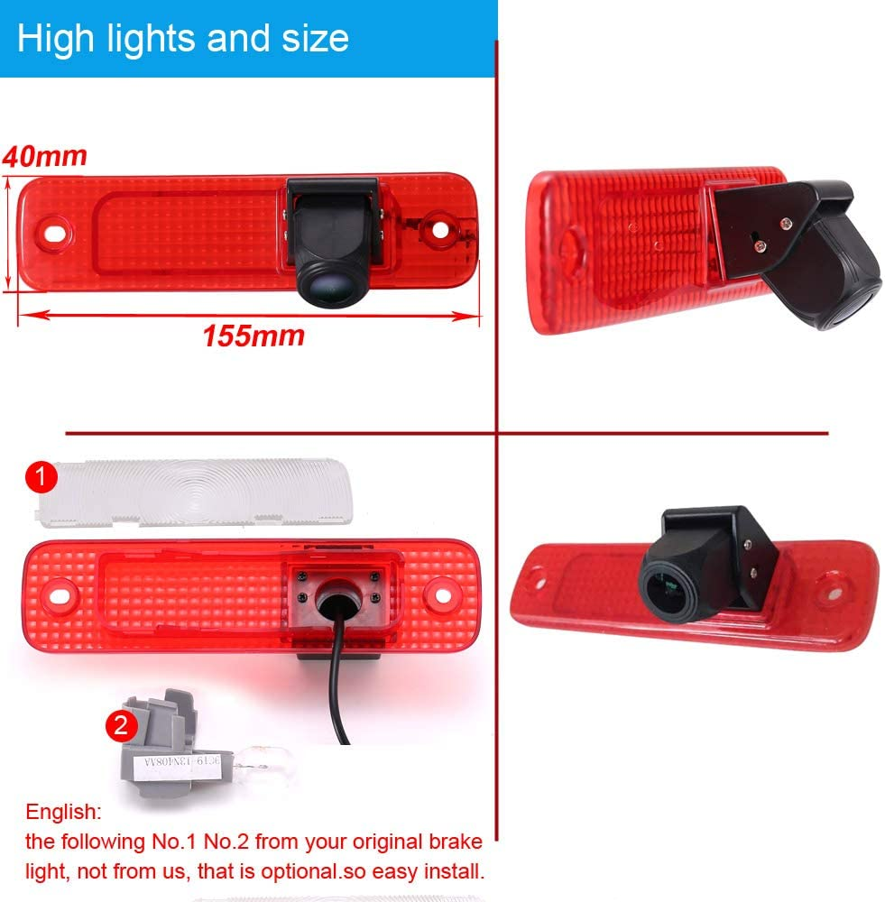 HD IP68 1280*720 pixels 1000TV lines Third Roof Top Mount Brake Lamp Reverse Rear View Backup Camera Angle and distance Adjustable IR Night Vision for Ford Transit Transporter 3//MK7 tourneo//Furgon MK4