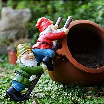 mlhk Estatua De Gnomo De Jardín Adorno De Jardín Colgante De Resina Resistente Al Agua para Decoración De Césped De Jardín Al Aire Libre O como Regalo para Niños,Ladder Boy:37 * 17cm: