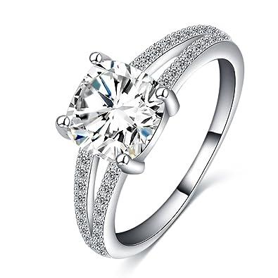 Amazon Com Luckyweng Cushion Cut Halo Engagement Rings Girls Small