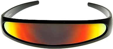 Futuristic Narrow X-men Cyclops Color Mirrored Lens Visor Sunglasses