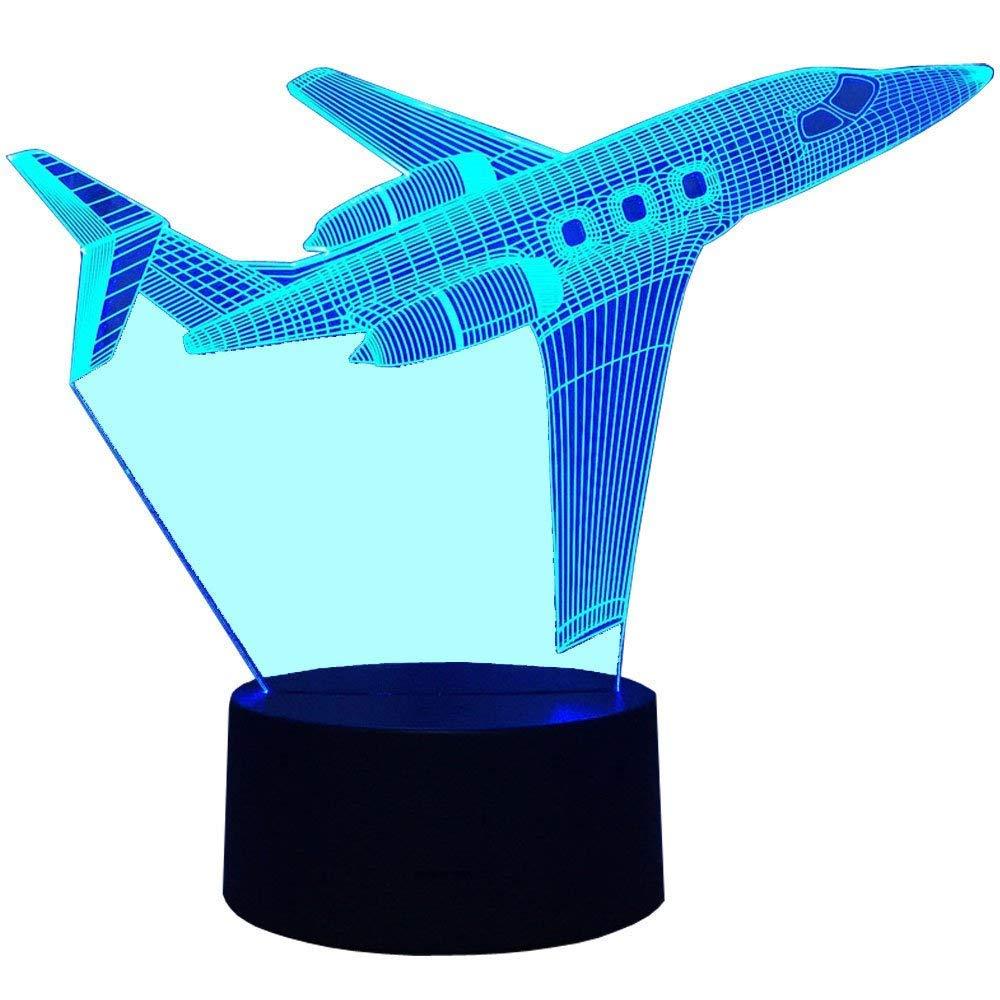 Illusion 3D Avion LED Lampe Art D/éco Lampe Lumi/ères LED D/écoration Lampes Touch Control 7 Couleurs Change Veilleuse USB Powered Enfants Cadeau Anniversaire No/ël Cadeaux