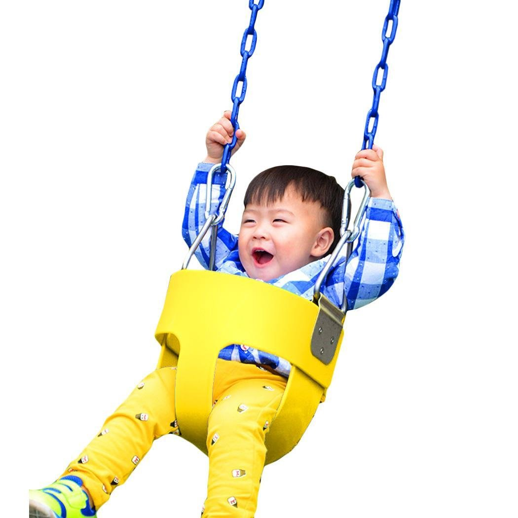 Pesters (US STOCK) Heavy-Duty High Back Full Bucket Toddler Swing Seat without Coated Chain - Swing Set Accessories, Ideal Kids Outdoor Toy (Yellow)