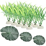 Scheppend Green Artificial Aquatic Plant Fish Tank Decorations Home Décor Plastic Green Used For Household And Office,10 Packs Grass + 3 PCS Lotus Leaf