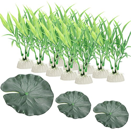 Scheppend Green Artificial Aquatic Plant Fish Tank Decorations Home Décor Plastic Green Used For Household And Office,10 Packs Grass + 3 PCS Lotus Leaf by Scheppend