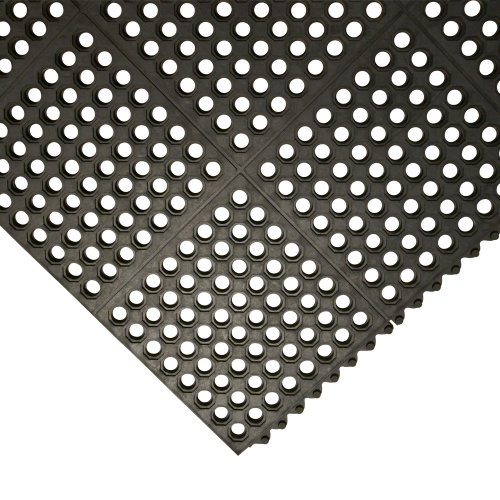 3' Gel Cushion - Rubber-Cal Dura-Chef Interlock Kitchen Mats - 5/8-inch x 3ft x 3ft - Black Rubber Matting - 4 Pack