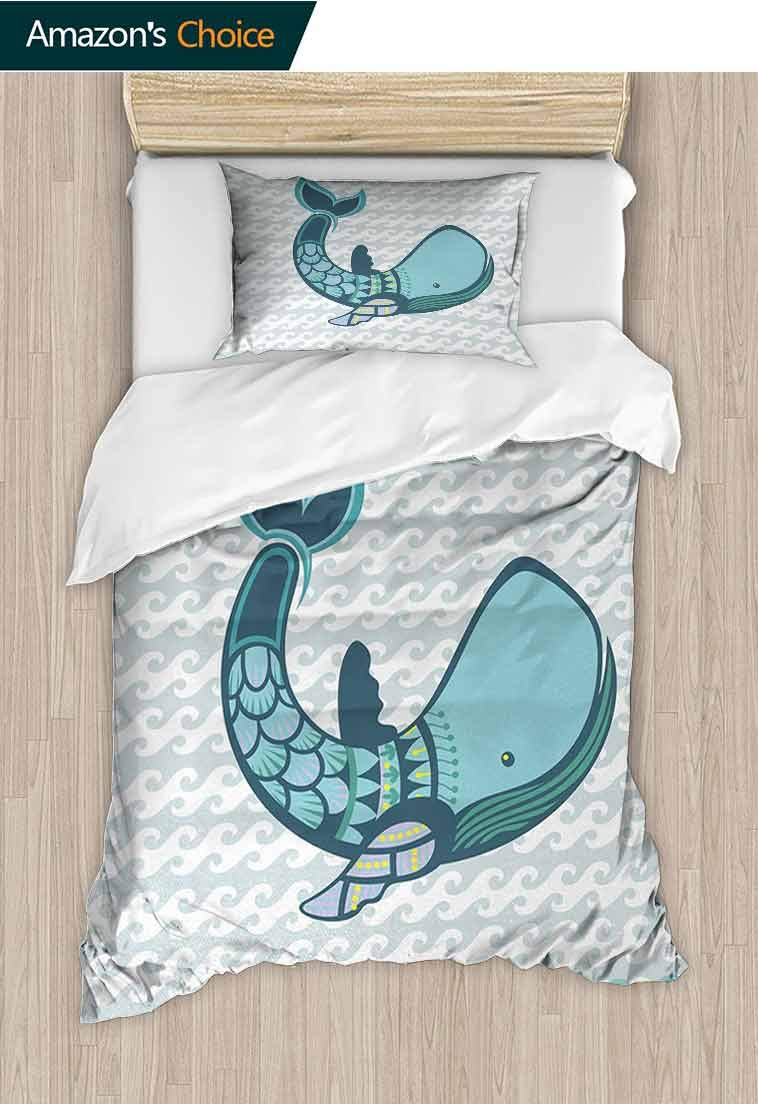 Whale Diy Duvet Cover and Pillowcase Set, Happy Big Smiling Cartoon Design Huge Whale with Modern Ornamental Design Artwork, Cool 3D Outer Space Bedding Digital Print - 2 Piece, 71 W x 79 L Inches