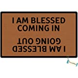Favorplus I Am Blessed Coming In And Going Out Funny Entrance Custom Doormat Door Mat Machine Washable Rug Non Slip Mats Bathroom Kitchen Decor Area Rug 15.7X23.6 Inch