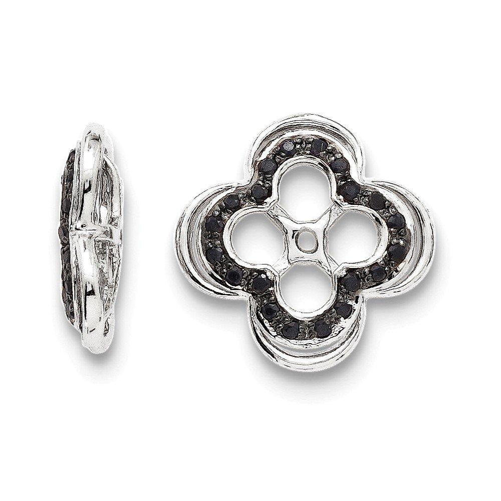 Sterling Silver Rhodium Black Sapphire Earring Jacket