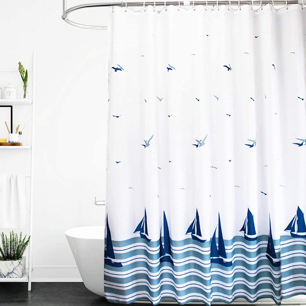 ORSJA Shower Curtain 180x180-Weighted Hem & Anti Mould & Resistant Washable, Blue Sailboat Nautical Bathroom Curtains with 14 Hooks White 180*180cm