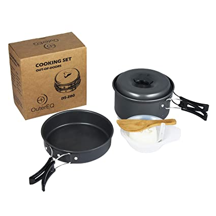 Sports & Entertainment Collection Here 1 To 2 People Camping Cookware Kit Portable Kitchen Pan Pot Set Suitable For Hiking Camping Fine Quality