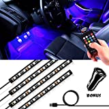 Underdash Lighting Kit, Derlson USB-Powered RGB Multi-Color LED Car Interior Lights with Sound Activation and Wireless Remote for Cars, Trucks, Pickups, Free Dual USB Car Charger Included
