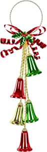 TOUTN Christmas Jingle Bell Green Medal Ribbon, Red Bell Ornament Decor. Christmas Door Golden Hanger Xmas Tree Hanging Decoration