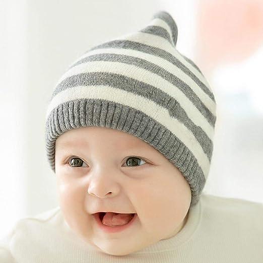 Myzixuan Los niños de algodón Invierno Sombrero Rayas niños ...