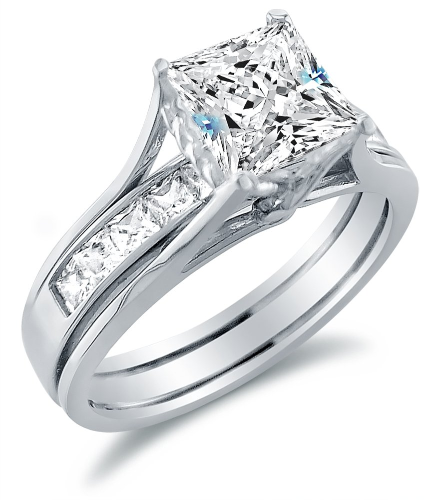 Size 8 - Solid 14k White Gold Bridal Set Princess Cut Solitaire Engagement Ring with Matching Channel Set Wedding Band Highest Quality CZ Cubic Zirconia 2.0ct. by Sonia Jewels