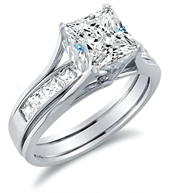 Amazon Com Solid 14k White Gold Bridal Set Princess Cut Solitaire