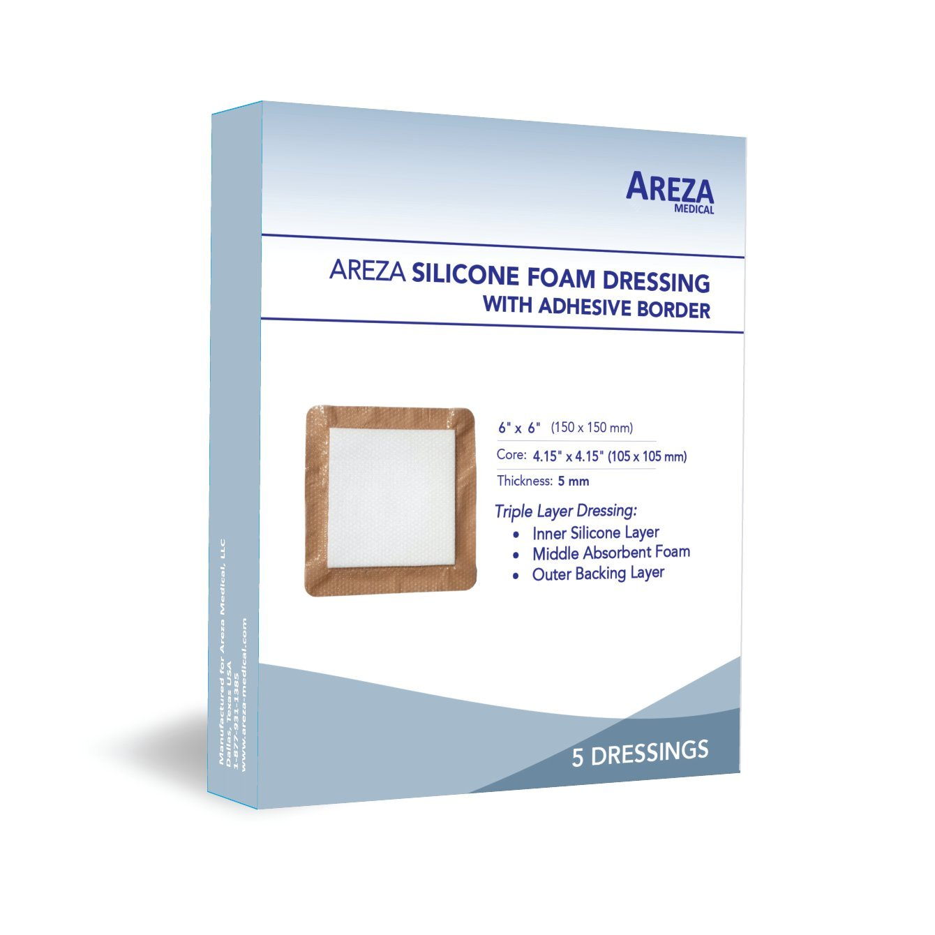 Silicone Foam Dressing with Border (Adhesive) Waterproof 6'' X 6'' (15 cm X 15 cm) (Central Ultra Absorbent-Foam Pad is 4'' X 4'') 5 Per Box (1); Wound Dressing by Areza Medical by Areza Medical