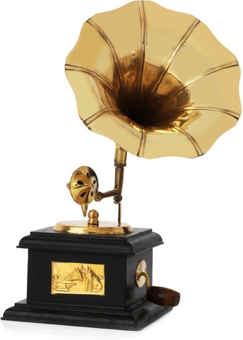 Purpledip Handcrafted Brass Vintage Miniature Wooden Gramophone Showpiece Memorabilia Souvenir For Hotels Restaurants Home(10736)