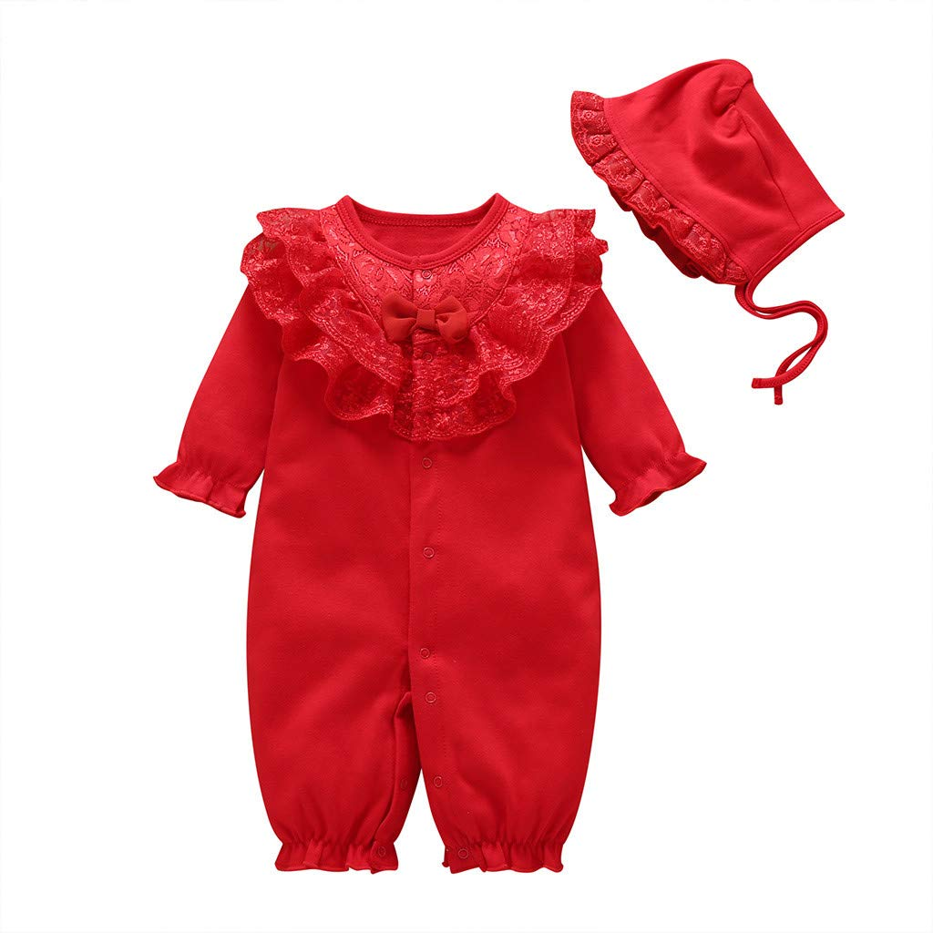 Newborn Infant Baby Girls Solid Ruffles Lace Romper Jumpsuit+Hat Outfits Sets