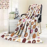 Digital Printing Blanket Donuts and Hearts Yummy Delicious Dessert Cafeteria Restaurant Art Pink Brown Summer Quilt Comforter