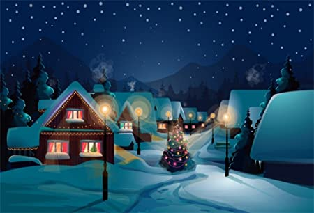 5x5ft Christmas Eve Snowing Backdrop Snow Covered Rustic Village Houses Snow Landscape Night Lighting Road Lamp Iron Fence Door Snowfield Background Video Drape Photo Studio Prop