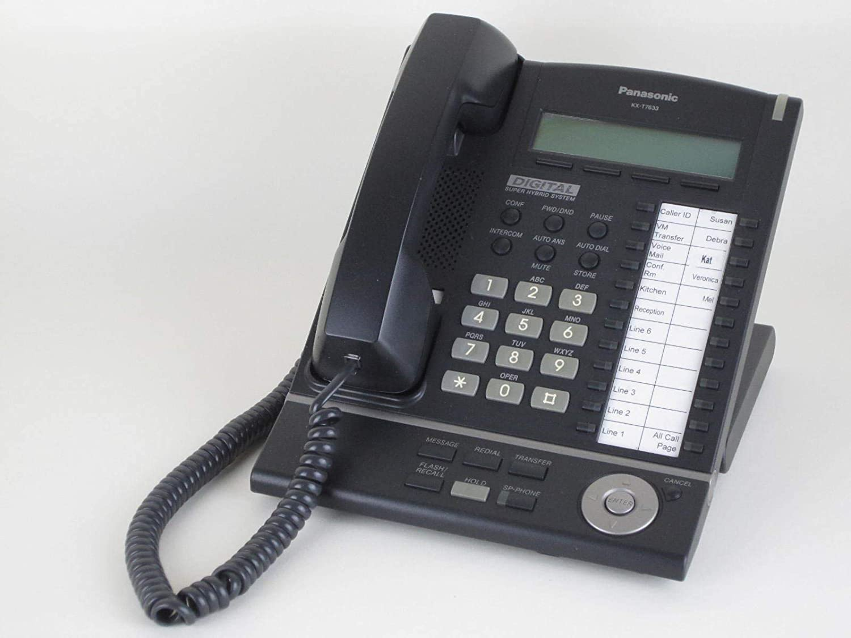 Panasonic KX-T7633-B Digital Telephone Black 3-Line LCD Proprietary Phone (Renewed)