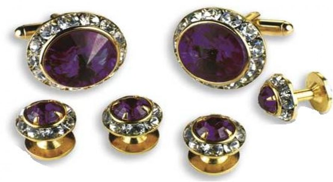 Amethyst Stone Center Austrian Crystal Tuxedo Studs and Cufflinks Gold Trim