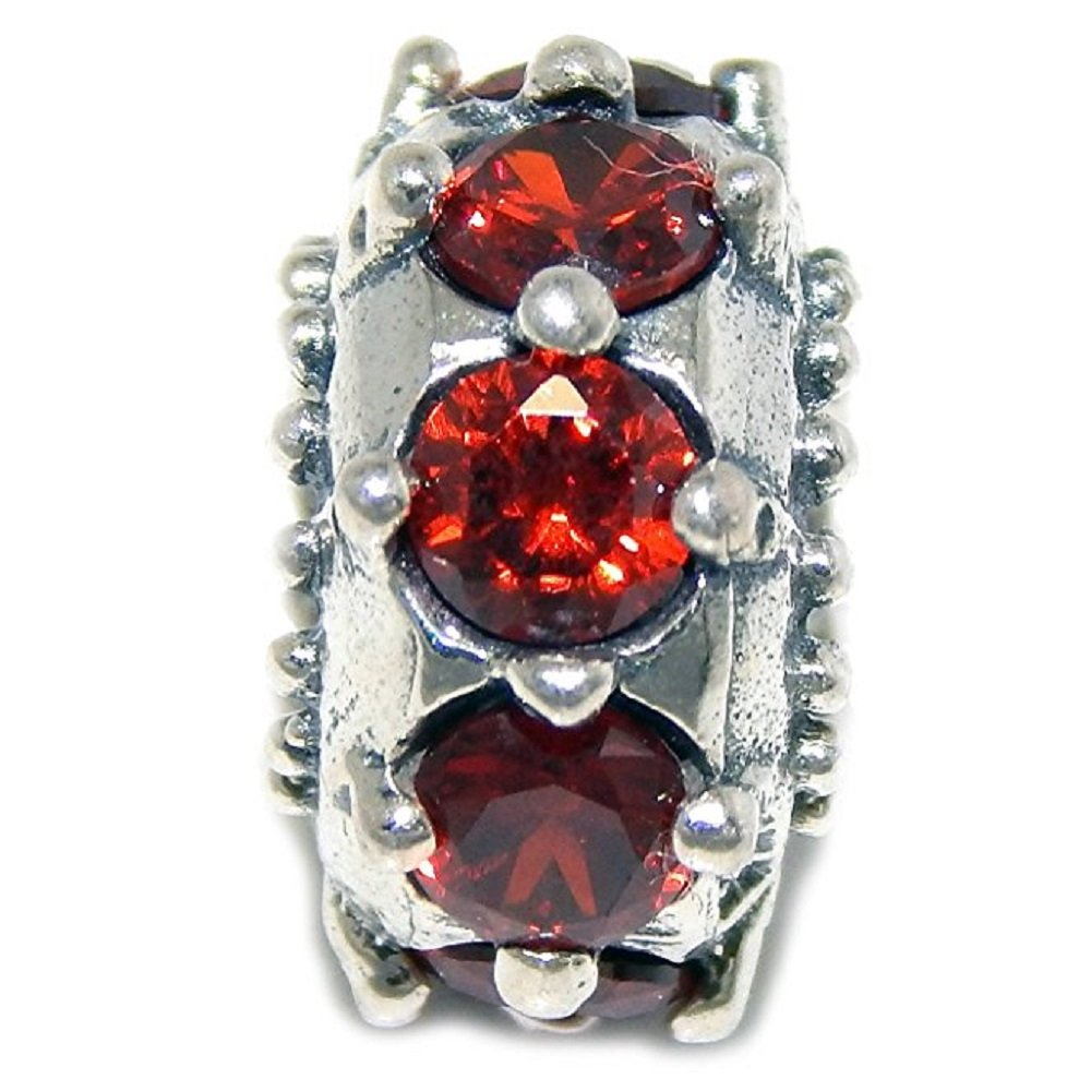 Solid 925 Sterling Silver Small Spiked Red Cubic Zirconia Wheel Charm Bead
