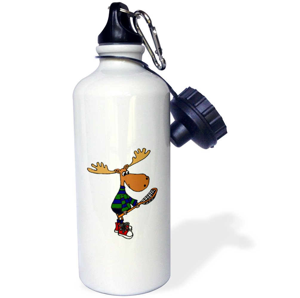 3dRose wb_224760_1 ''Funny Moose with LaCrosse Stick Art'' Sports Water Bottle, 21 oz, White