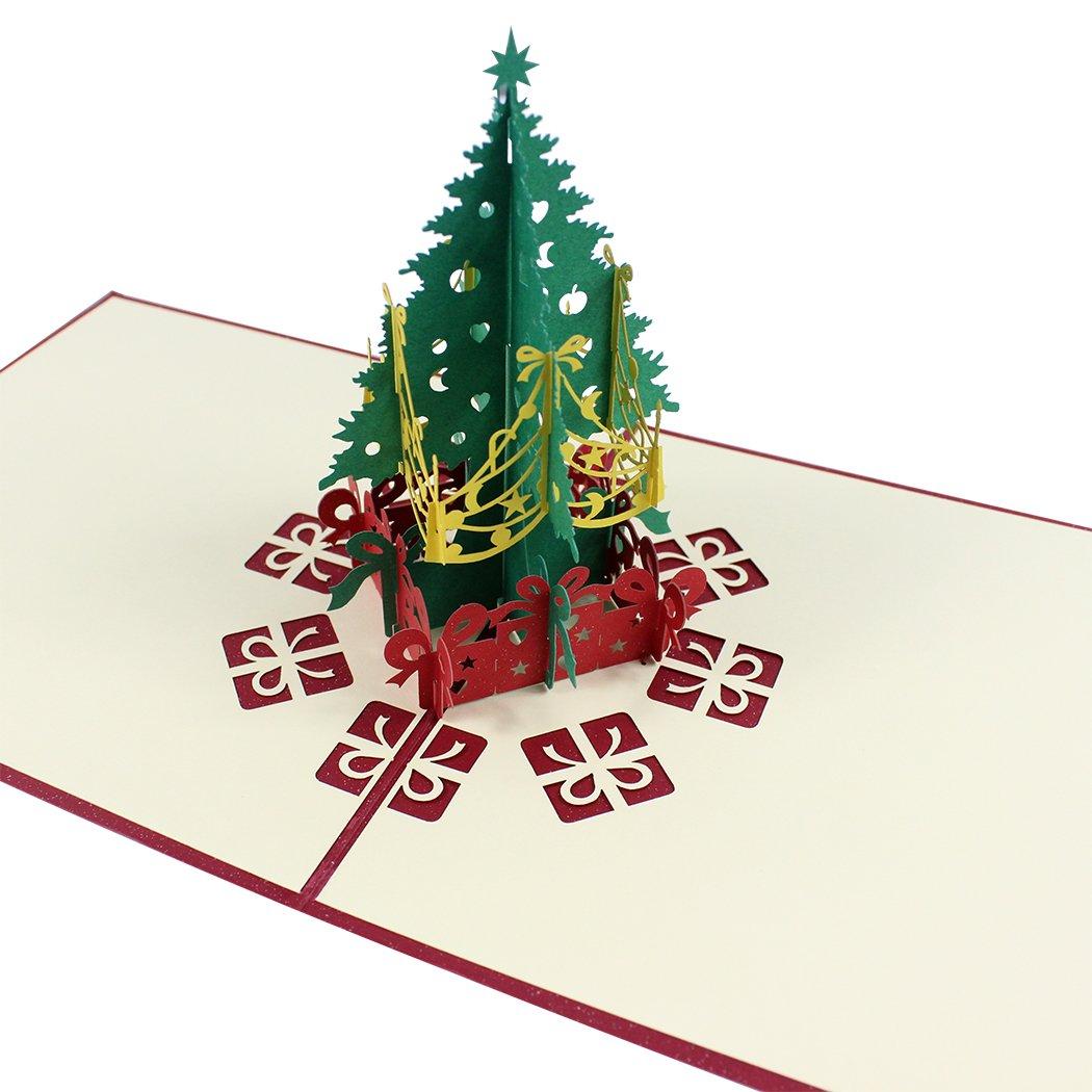 Zoohot 3 confezioni schede pop up di Natale, carta di Babbo Natale, buon Natale carta per il giorno di Natale nuovo anno saluto della scheda del regalo zyohot