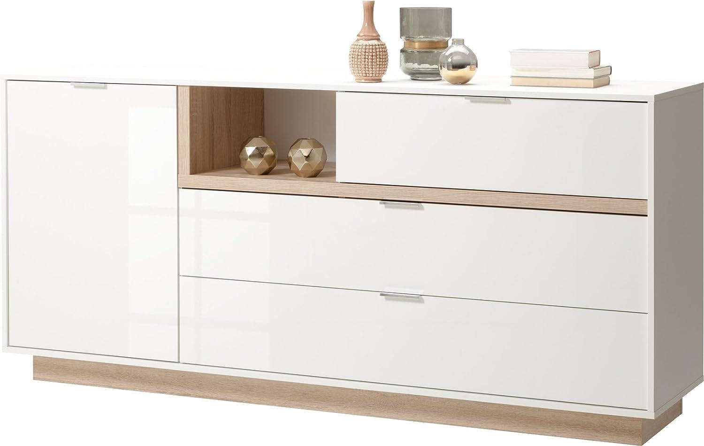 CS Schmalmöbel 56.012.586 20 Lowboard MY ELL, Holz, Weiß hochglanz   eiche, 43 x 176 x 81 cm