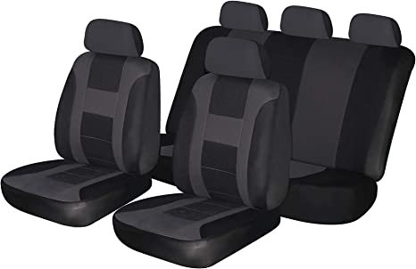 Airbag Compatible AUTONISE Universal fit Classic Sport Bucket seat Cover flatcloth Blue, Full Set Fit Most Car,Truck, SUV, or Van with headrest