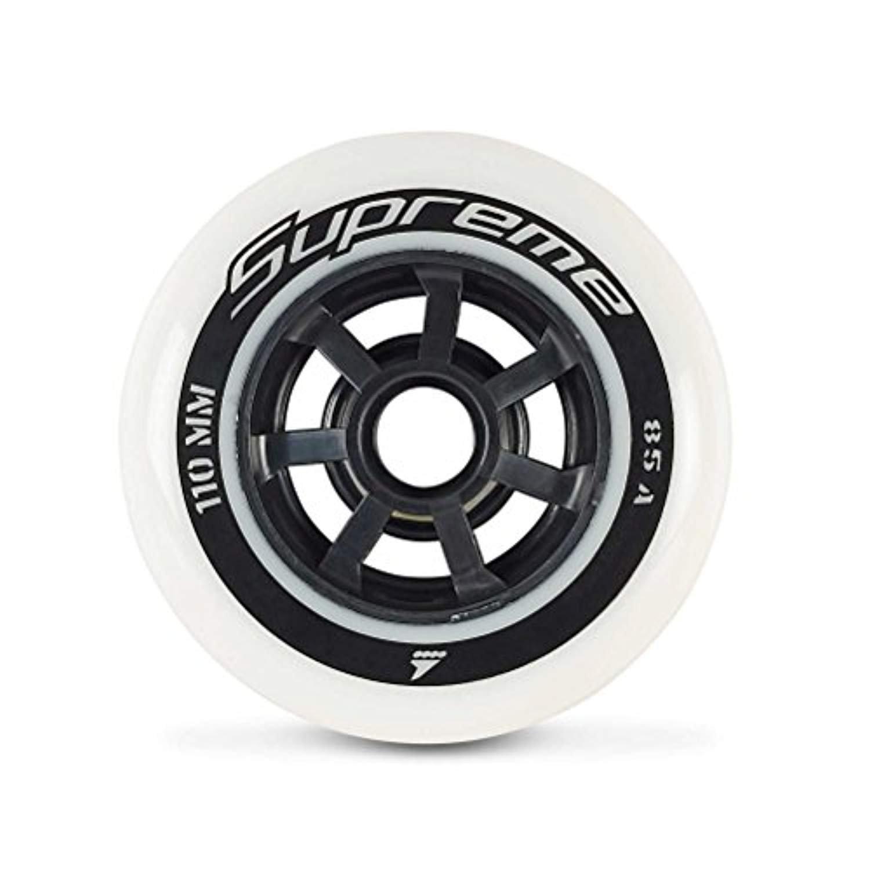 Rollerblade Supreme 110mm 85A Wheels (8PCS) White EA & Headband Bundle