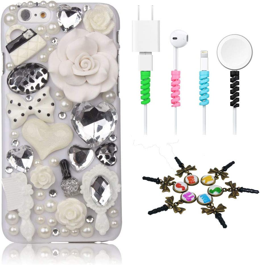 STENES Bling Case Compatible with iPhone 5C - Stylish - 3D Handmade [Sparkle Series] Girls Cosmetic Rose Flowers Design Cover with Cable Protector [4 Pack] - White