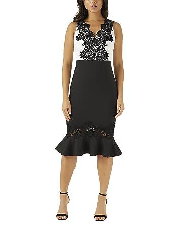 3d8e7f24e21a LIPSY Womens V Neck Lace Placement Bodycon Dress - Black -  Amazon.co.uk   Clothing